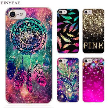 BINYEAE Dream catcher feather stars Christmas colorful Clear Cell Phone Case Cover for Apple iPhone 4 4s 5 5s SE 5c 6 6s 7 Plus