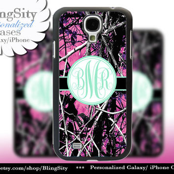 Camo Mint Monogram Galaxy S4 case S5 RealTree Muddy Camo Personalized Samsung Galaxy S3 Case Note 2 3 Cover Country Girl