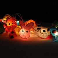 20 mulberry paper animal zoo cow frog turtle set string light handmade kid room bedroom stran light decor