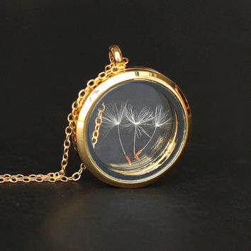 gold real Dandelion seed necklace Make A Wish Window Locket Necklace, transparent glass necklace, bridesmaid gifts, real plant good luck