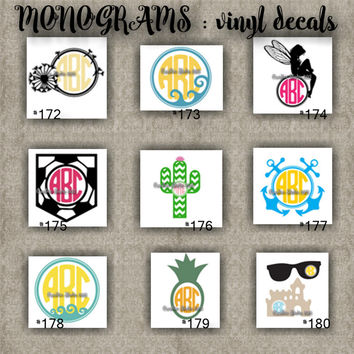 MONOGRAM vinyl decals | name | initial | decal | sticker | car decals | car stickers | laptop sticker - 172-180