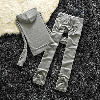 Juicy Couture Studded Logo Crown Velour Tracksuit 605 2pcs Women Suits Grey