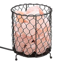 Himalayan Pink Salt Basket Lamp with Dimmable Switch