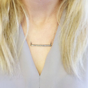 Pave Silver Bar Necklace, White Topaz Bar Necklace, Simple Necklace, Sterling Silver