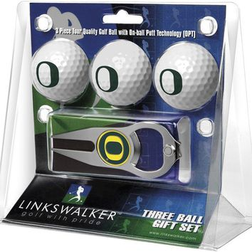 Oregon Ducks 3 Ball Gift Pack with Hat Trick Divot Tool