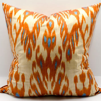 20x20 inches ikat pillow cover, orange ikat cushion,orange cream blue ikat coussin kissenbezug yastik 枕頭 pude bantal almohada cuscino