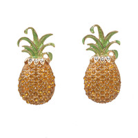 Pineapple Rhinestone Post Earrings