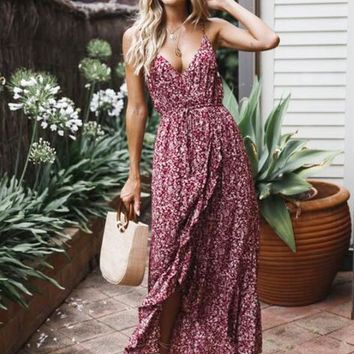 New Dress Sexy Bow Floral Tank Dress