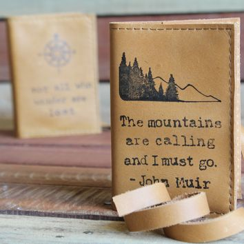 Mountains are Calling Leather Journal