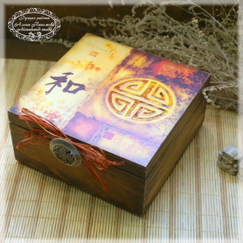 "Tea-Box ""Harmony""/Box for tea,coffe or spices, vintage look wooden box"