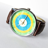 Brasil Flag ,  Vintage Style Watch, Brazil  Flag , Leather Watch, Women's watch, Men's Watch, Boyfriend Watch , World Cup