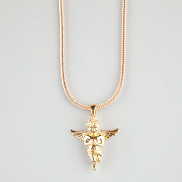 The Gold Gods Micro Angel Piece Necklace Gold One Size For Men 24221462101