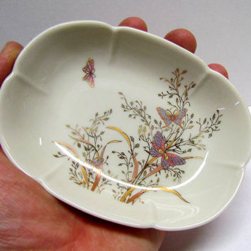 Vintage Ceramic Porcelain Soap Dish with Beautiful Butterfly Art Design, Hope San Francisco
