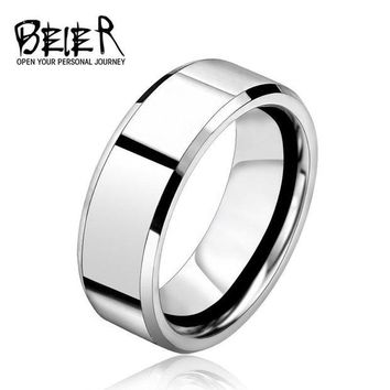 DCCKU62 BEIER 2017 Silver Color Stainless Steel Men's Fashion Man Ring Cool Man's High Polished Man's Wedding Ring BR-R006