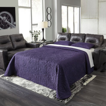 Kensbridge collection charcoal colored leather match upholstered queen sleeper sofa with squared arms