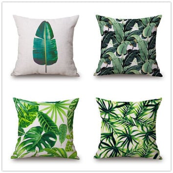 Hawaiian Garden Tropical banana Leaves Palm Leaf Print Car Decorative Pillowcase Pillow cases Cushion Covers Sofa Home Decor