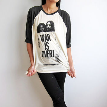 The Beatles John Lennon & Yoko Ono Shirts War is Over Baseball Jersey Tee Raglan T Shirt Long Sleeve Tshirt Size M