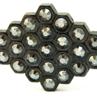 Handmade Belt Buckle with Hematite Crystals from Hex Nuts by gr8byz