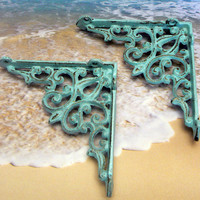 Wall Bracket Cast Iron Shelf Ornate Brace Cottage Chic Beach Blue Decorative Distressed Shabby Chic Brackets 1 Pair (2 individual brackets)