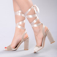 You Got Satin Heel - Nude