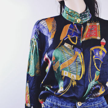 Vintage ESCADA Silk Blouse | Novelty Scarf Print Printed Silk Shirt | Womens Vintage Clothing | 90s Kid Hipster Kimono Oversized Shirt