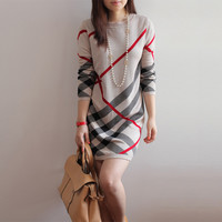 Women Spring and Autumn dress new women's wool knitted large size long-sleeve stripe one-piece warm wool sweater dress