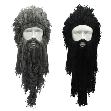 Creative Barbarian Beanie Hat Halloween Cosplay Costume Unisex Knitted Wig Viking Beard Hat Winter Warm Funny Crazy Ski Mask Cap