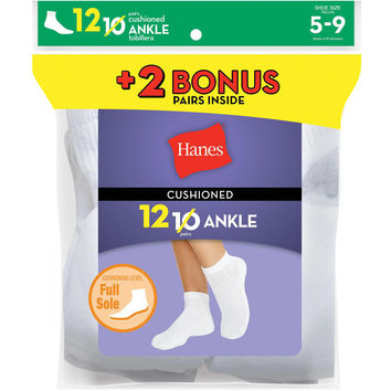 Hanes Womens Cushion Ankle Socks White 12-Pack (Includes 2 Free Bonus Pairs)