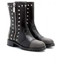 STUDDED LEATHER CALF BOOTS
