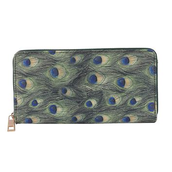 Green Peacock Feather Print Vinyl Clutch Wallet Bag Accessory