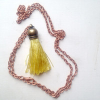 Silk Bright Yellow Tassel Necklace with 24 inch Copper Chain, Gift Box Included