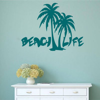 Beach Life with Palm Trees Vinyl Wall Words Decal Sticker