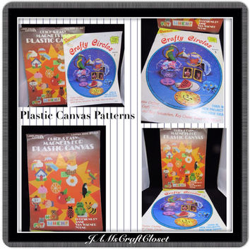 Plastic Canvas Pattern Books-Vintage-Magnets for Plastic Canvas and Crafty Circles-How To-Gift-Boxes-Baskets-Ornaments-Set of Two-Crafts