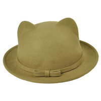 Khaki Cat Ear Bowler Hat with Bow Trim