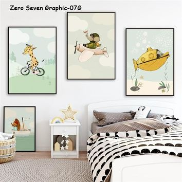 Cute Transportation Cartoon Animal Canvas Painting Posters And Prints Art Wall Pictures Baby Children's Room Nursery Home Decor