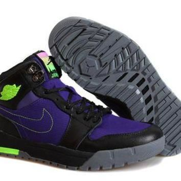 Cheap Air Jordan 1(I) Retro Men Shoes Black Purple Green