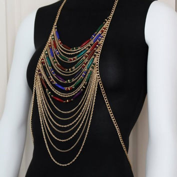 BEADED BODY CHAIN Necklace Beads Gold Harness Boho Draping Metal Chains Black Blue Purple Green