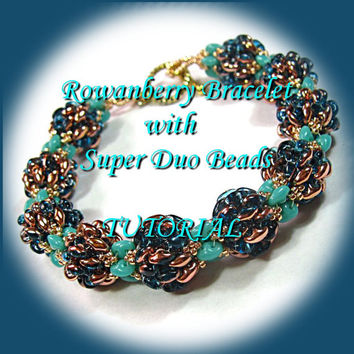 Pdf Tutorial Rowanberry Bracelet with Super Duo Beads, Beading Pattern