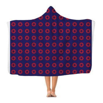 Red Circle Donut Classic Adult Hooded Blanket