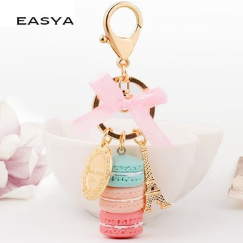 EASYA France Paris 5 Colors Cute Macaroon Effiel Tower Macarons Keychain Colorful Keyring Bag Pendant Car Charm Key Holder