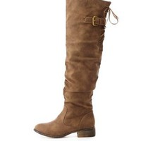 Back-Laced Slouchy Knee-High Boots by Charlotte Russe - Taupe