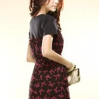 Cotton Splicing Chiffon Bowknots Pattern Dresses Red : Yoco-fashion.com