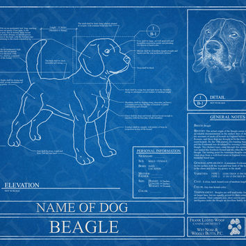 Customized Beagle Blueprint / Beagle Art / Beagle Wall Art / Beagle Poster / Beagle Print