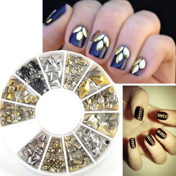 One Box Various Shape Alloy DIY Nail Art Decoration