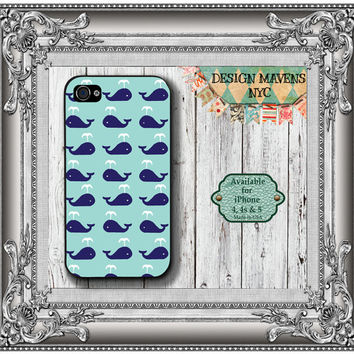 Preppy Whale iPhone Case, Hard Plastic iPhone Case, Fits iPhone 4, iPhone 4s & iPhone 5, Phone Cover, Phone Case