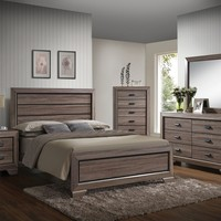5 pc Lyndon collection weathered gray grain finish wood queen bedroom set