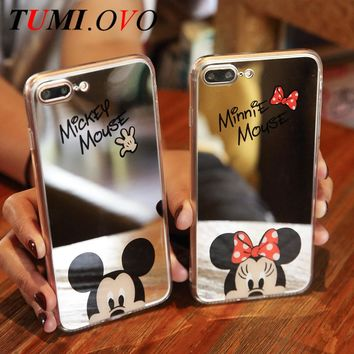 Cute Cartoon Mickey Mouse Mirror Phone Cases for iPhone 6 6s Plus 5 SE 5S Silicone Gel Soft Back Cover for iPhone 7 7Plus Coque