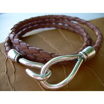 Leather Bracelet, Triple Wrap, Saddle Braided, Hook Closure Clasp, Mens Bracelet, Womens Bracelet
