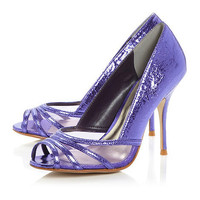 Purple plain synthetic 'dalton' metallic mesh vamp court shoe at debenhams.com
