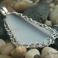 Amethyst Lavender Purple Sea Glass with Crochet Silver Plated Wire Pendant